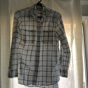 Madewell white checked flannel